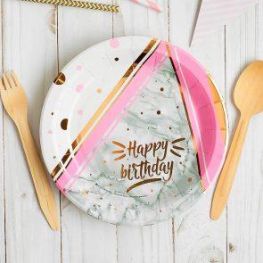 Тарелки бумажные Happy birthday, 18 см, тиснение розовое золото, набор 10 шт