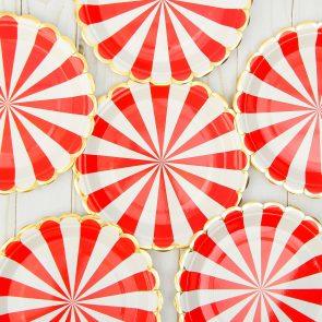 Тарелки бумажные Полоска, цвет красный и белый, набор 6 шт