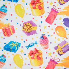 Бумага упаковочная крафтовая С Днём рождения, 50 × 70 см