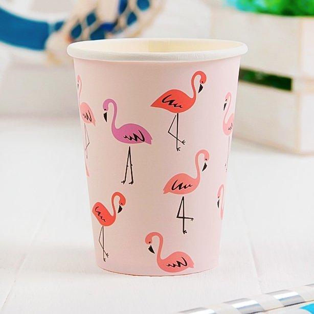 Стакан бумажный фламинго, набор 6 шт
