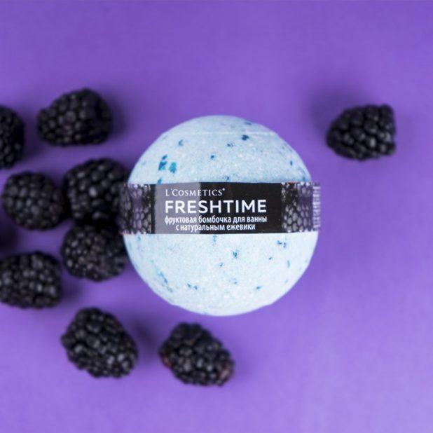 Lcosmetics freshtime фруктовая бомбочка для ванны с соком ежевики, 170 гр
