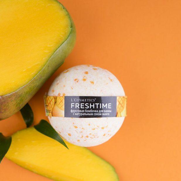 Lcosmetics freshtime фруктовая бомбочка для ванны с соком манго, 170гр