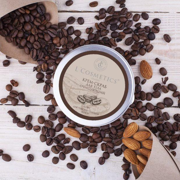 Lcosmetics крем скраб для тела очищающий, кофе для чувствительной кожи, 200 мл