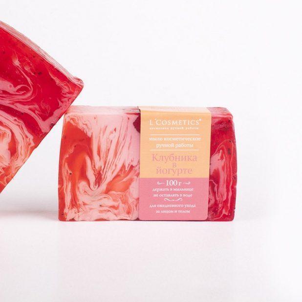 Lcosmetics мыло косметическое ручной работы клубника в йогурте, 100 гр