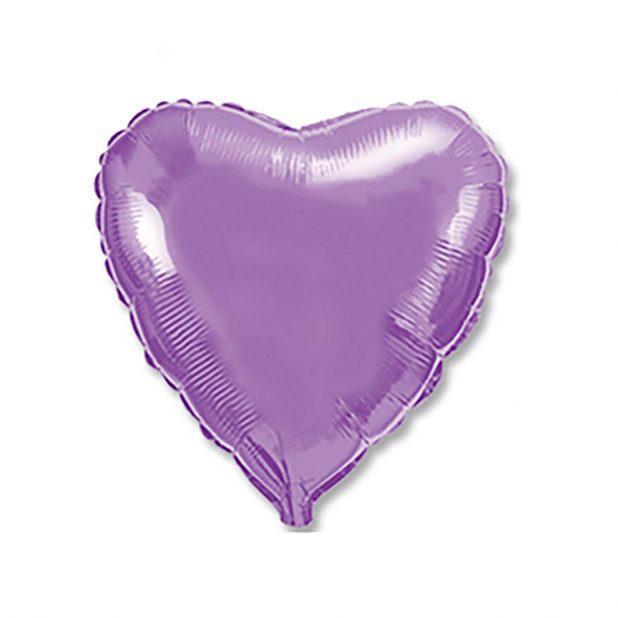 """Шар фольгированный 18"""", сердце, металлик,  lilac"""