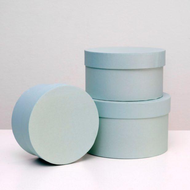 Коробка круглая, цвет мята, размер микс