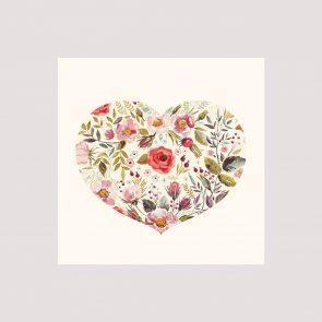 Поздравительная карточка , Цветочное сердце