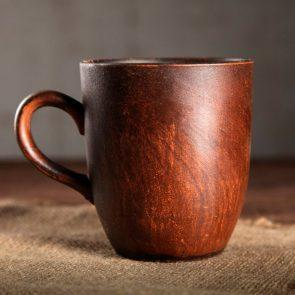 Кружка Чайная, гладкая, красная глина, 250 мл