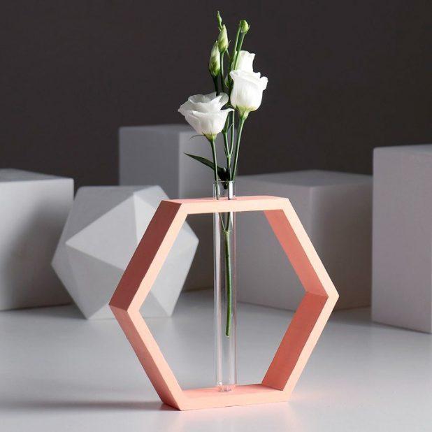 Рамка-ваза для цветов шестигранник, оранжевый, 22 х 4 х 22 см