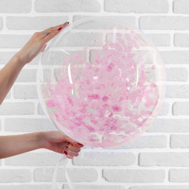 """Шар полимерный 20"""" «сфера» + бумажное конфетти , цвет розовый"""