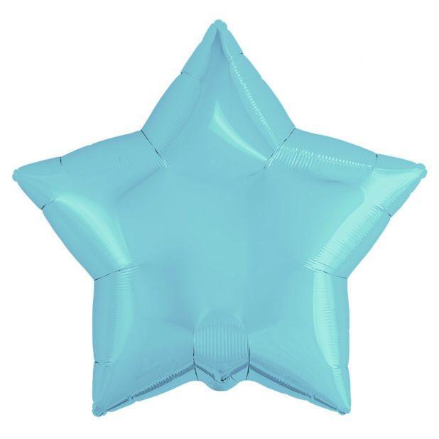 """Шар фольгированный 21"""", звезда, цвет нежно-голубой"""