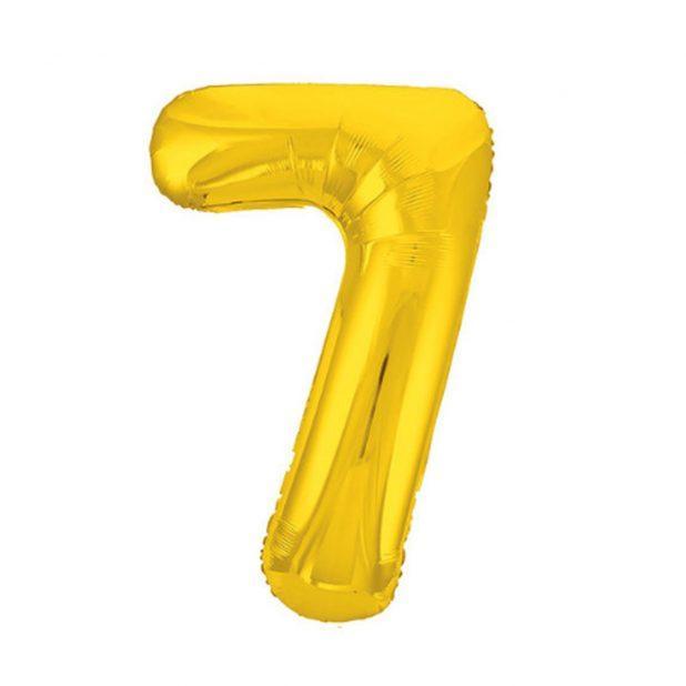 """Шар фольгированный 40"""" agura цифра 7, цвет золотой"""