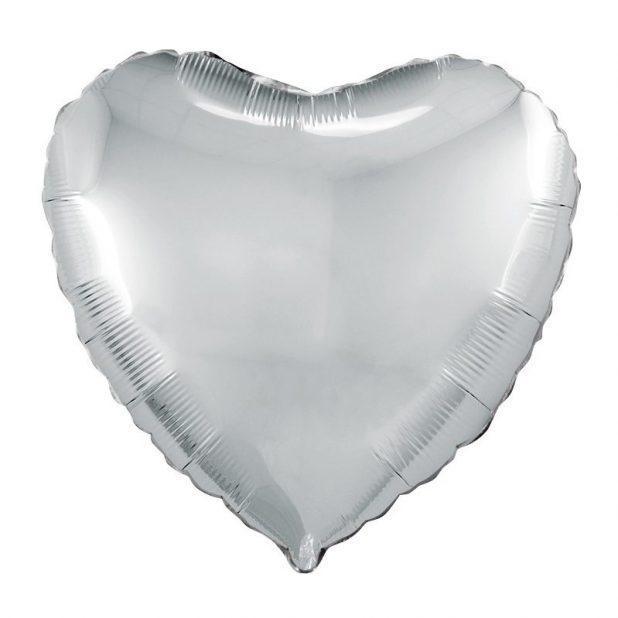 "Шар воздушный 19"" agura сердце, цвет серебро"
