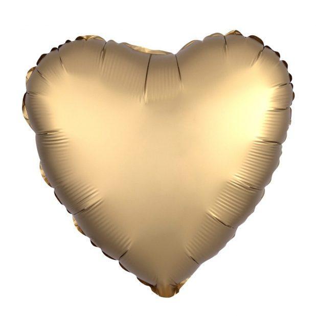 """Шар воздушный 19"""" agura сердце, цвет золото"""