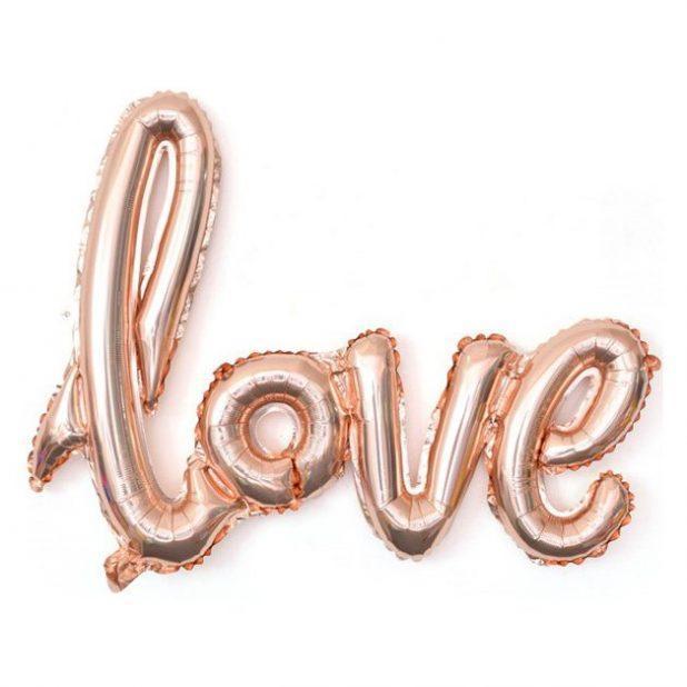 """Шар воздушный 41"""" фигура надпись love, розовое золото"""