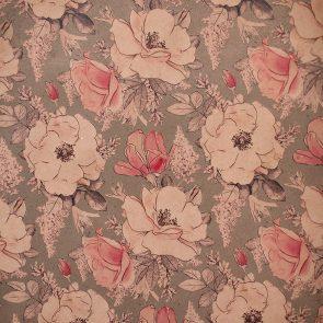 Бумага упаковочная Цветы на сером