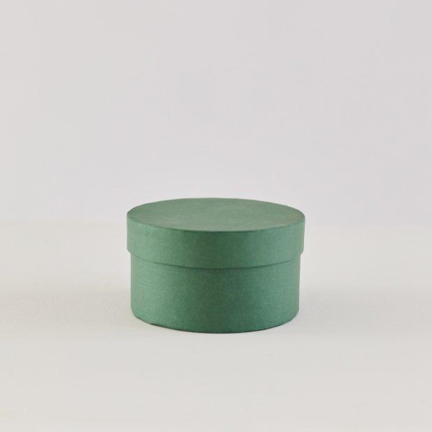 Шляпная коробка зеленая ребристая, 12. 5 х 12. 5 х 7 см
